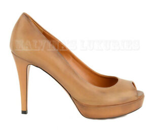 GUCCI SHOES BETTY LEATHER PLATFORM OPEN TOE PUMP HONEY BROWN $595 39.5 9.5