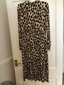Stunning Ladies Leopard Print Stretch Midi Dress Size 10