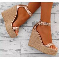 Womens Platform Wedge High Heels Buckle Slingback Sandals Open Toe Strap Shoes