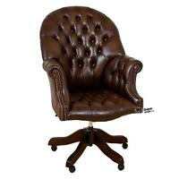 Chesterfield Directors Swivel Office Chair Antique Brown Leather