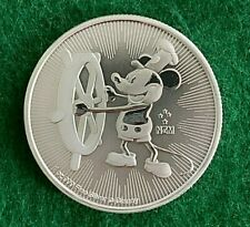 2017 Niue Steamboat Willie Mickey Mouse $2 Dollar .999 Fine Silver - BU