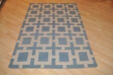 SOUTHWESTERN Wool kilim area rug 4' x 6' Blue hand-woven flat weave wool rug