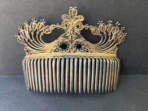Antique Victorian  Silver Filigree Hair Comb Gold gilded