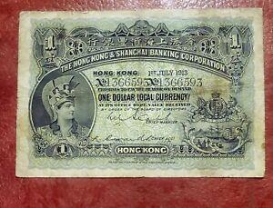 HONG KONG & SHANGHAI BANK $1 DOLLAR 1913 P-155b ~ SCARCE EARLY DATE ~ ATTRACTIVE