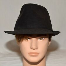 Black Faux Suede Mens Fedora Hat One Size