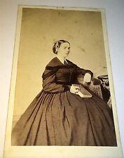 Antique Victorian American Civil War Era Woman Pointing at Book! CT CDV Photo!