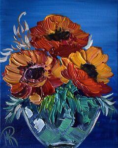MARINA REHRMANN Sunflower Flower Bouquet Vase 100% Original Painting COA Art 🧿