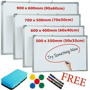 Magnetic Whiteboard Small Large White Notice Board Dry Wipe Office School Home