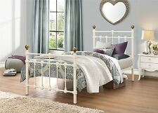 65f2b5341b33 Birlea Atlas Cream Brass Knobs Metal Sprung Slatted Bedstead Bed Frame 3ft  Singl