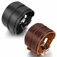 Men's Wide Leather Belt Strap Buckle Adjustable Cuff Bangle Wristband Bracelet