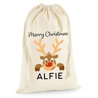 Personalised Santa Sack Christmas Stocking Reindeer Bag Xmas Boys Gift