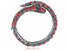Gun Metal Tone Alloy Ruby Crystal Rhinestone Blk Gem Snake Cuff Bangle Bracelet