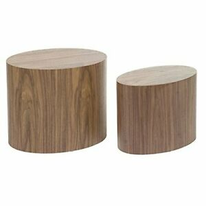 SantiagoPons Nordic-style Set of 2 Oval Table, Walnut Wood
