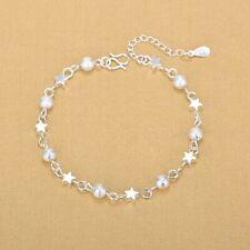 Link Foot Chain Ankle Bracelet #Ab41 Women's 925 Sterling Silver Stars Beaded