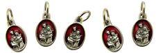 Red Enamel Holy Family Pray for Us Medal Charm Pendant, Set of 5, 5/8 Inch