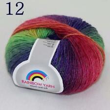Sale Colorful Rainbow Scarf Shawl Cashmere Wool Hand Knit Yarn 1 Skeinx50g 12