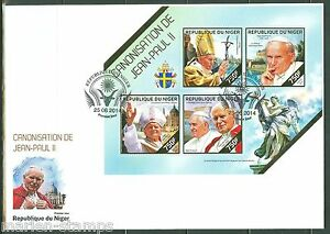 NIGER 2014 CANONIZATION OF POPE JOHN PAUL II SHEET FIRST DAY COVER
