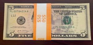 (10) 2017-A $5 Bills PL/A CONSECUTIVE San Francisco Notes $50 Bundle Stack