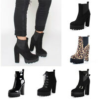 Onlymaker Women's Elastic Platform Boots Chunky High Heels Pull on Ankle Booties