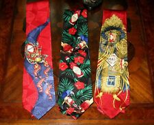 3 Tabasco Sauce Men's Silk Ties inc.rare Mardi Gras Native American Indian print