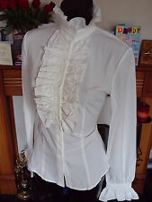 CREAM FRILLY BLOUSE FRONT HIGH NECK GOTHIC SHIRT SIZE XL 12 to 14
