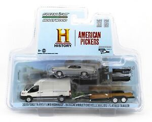 1:64 GreenLight HITCH & TOW American Pickers 2015 Ford Transit Chevelle Trailer