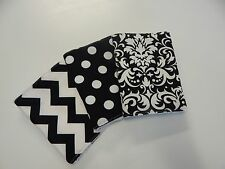 Black & White Burp Cloths x 3 Toweling Backed - Chevron Spots Damask 100% Cotton