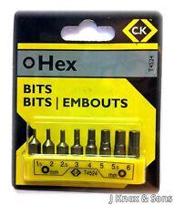 Ck 8 piezas hexagonal Bit Set Clip t4524 Cromo Acero de aleación de 1,5 2 2,5 3 4 5 5.5 6