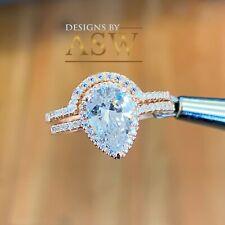 14K ROSE GOLD PEAR MORGANITE AND SIMULATED DIAMOND ENGAGEMENT RING BAND 2.00CT