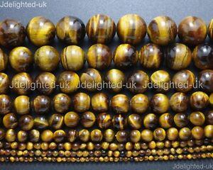 "Natural Gemstone Tiger's Eye Round Beads 2mm 4mm 6mm 8mm 10mm 12mm 16mm 15.5"""
