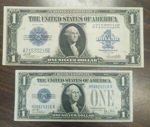 1923 $1.00 Silver Certificate 1928  $1.00 Silvercertificate Funny Back Both VF++