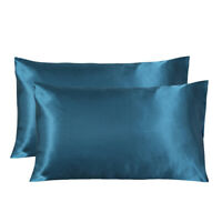 2 Pack Standard Silk Satin Pillowcases for Hair and Skin Queen Size Silky Smooth