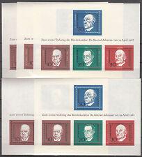 BRD Block 4: ( 5 Stück ) 1. Todestag von Konrad Adenauer postfrisch