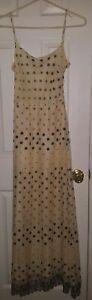 Collette Dinnigan Embroidered Dress Yellow & Black Floral Spaghetti Straps SMALL