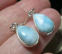 Beautiful STERLING SILVER Real Natural Larimar Gem Stone Drop EARRINGS