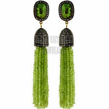 Estate 4.02Cts Rose Cut Diamond Gemstone Studded Jewelry Silver Tassel Earring