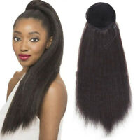 22'' Synthetic Yaki Kinky Straight Ponytail Clips In Hair Extensions Drawstring