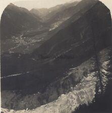 Chamonix Panorama de la vallée Stéréo Stereoview Vintage ca 1920