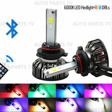 Pair 9006 72W Car LED RGB Headlight Bluetooth APP Control Drive Fog Lamp Bulb