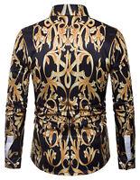 Men Women Long Sleeve Baroque Design Luxury Flower Vintage Casual Dress Shirts