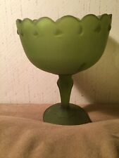 INDIANA GLASS FROSTED GREEN SATIN TEARDROP COMPOTE CANDY DISH Medium