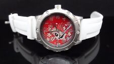NEW Ed Hardy NA-WH White Resin Strap Red Dial St. Steel Men's Watch GREAT GIFT