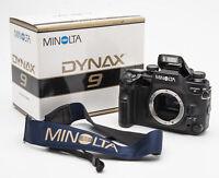 Minolta Dynax 9 Body Gehäuse SLR Kamera analoge Spiegelreflexkamera OVP