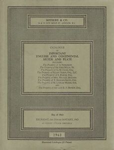 Sotheby & Co Catalogue Of Important English & Continental Silver & Plate - 1963