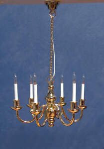 1/12 Dolls House Light Six Arm Deluxe Brass Candle Chandelier Miniature Lamp LGW