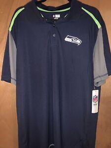 NFL Seattle Seahawks NIKE Dri-Fit Navy Blue Green Polo Golf Shirt Mens Size L