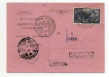 STORIA POSTALE 1948 REPUBBLICA LIRE 15 SU AVVISO DI RIC.BASSIANO 20/11 D/8573