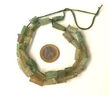 140 BC ANCIENT FRAGMENTS SHARDS OF ROMAN GLASS BEADS 1 STRAND AQUA GREEN TOP HIT