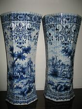 Paire de grands vases - Faïence - Céramique - Delft - Rouen - XIXème