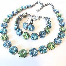 Swarovski Crystal Element BlueGreen Necklace Bracelet Earring Set 12mm New